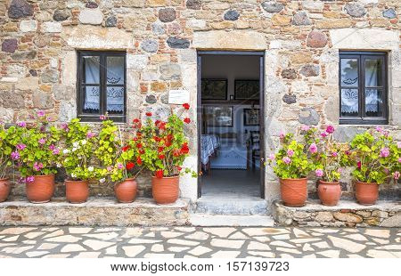 Kos, Greece - May 21, 2010 : A traditional house entrance in Antimachia village