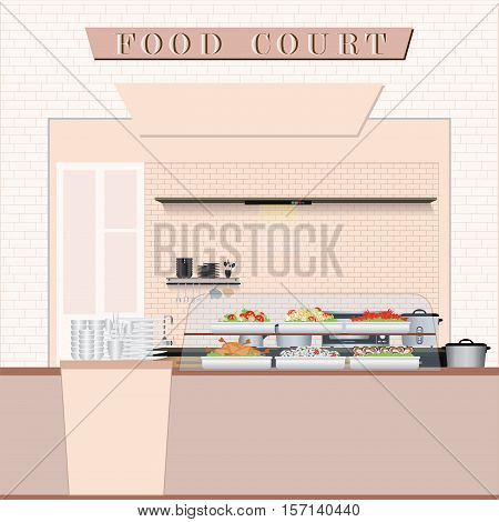 Food court with food in a shopping mall flat design vector illustration.