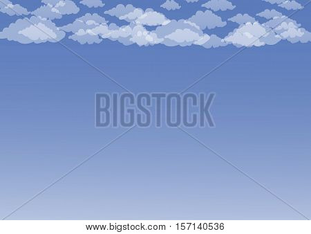 White cumulus clouds floating in the blue sky