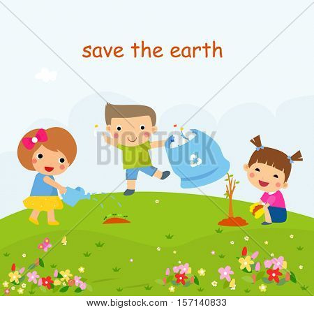 Children Helping In Eco-Friendly Gardening, Planting Trees, Cleaning Up Outdoors