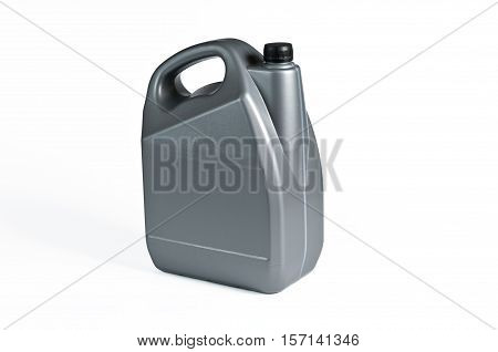 Silver plastic jerrycan with blsck cap on white background.