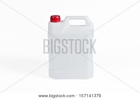White plastic jerrycan with rec cap on white background.