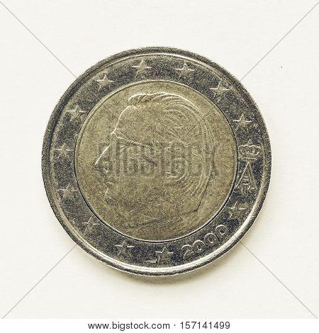Vintage Belgian 2 Euro Coin