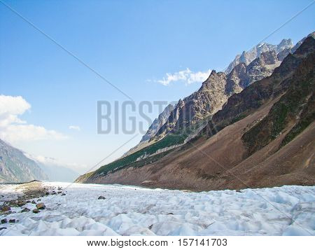 Ice and snowy seracs in Caucasian mountains