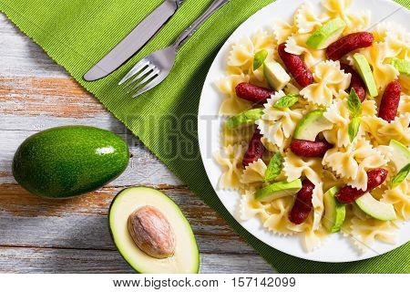Mini Salami Farfalle Pasta Warm Salad With Avocado Slices