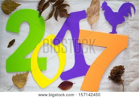 2017 new year of the rooster. Colorful numbers on the background dry leaves and tree branches. this suggests that autumn is gone and winter comes and the new year