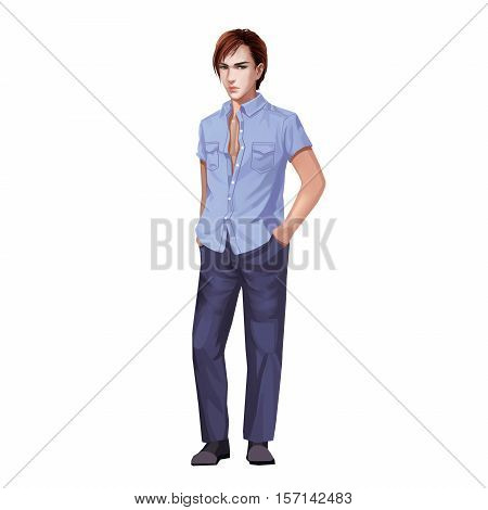 Fashion Young Man in Short Sleeved Shirt. Video Game's Digital CG Artwork, Concept Illustration, Realistic Cartoon Style Background and Character Design