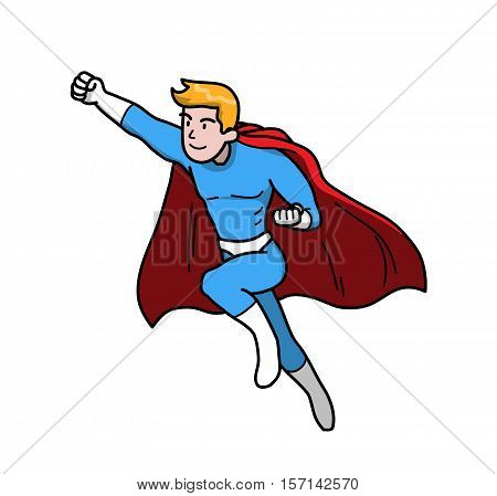 Heroic Superhero Hero. A hand drawn vector illustration of a flying man with super power.