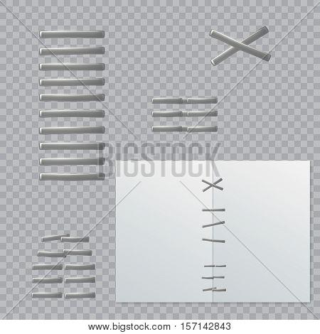 Stapler pin. Staples, isolated on transparent background.