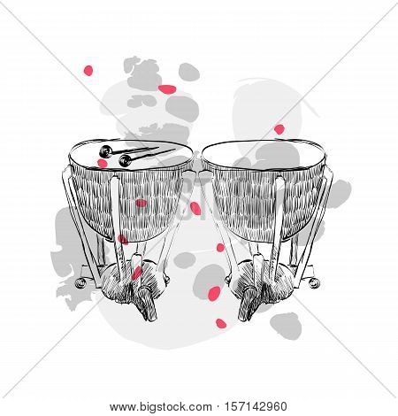 hand drawn timpani on a white background with blots