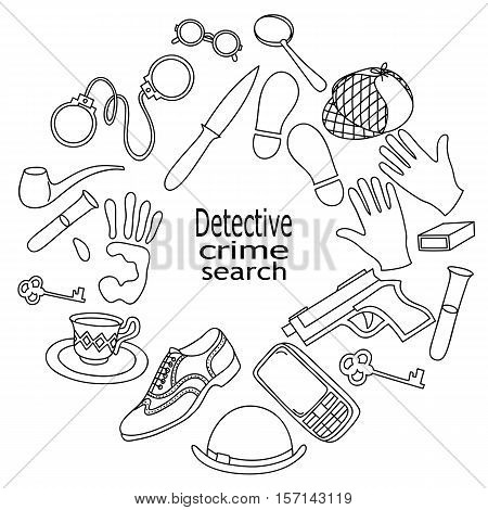 Cartoon cute doodles hand drawn Detective and criminal illustration. Sketch vector