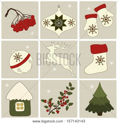 Christmas retro icons set of Christmas elements