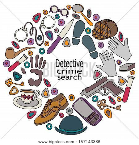 Cartoon cute doodles hand drawn Detective and criminal vector illustration. Colorful detailed