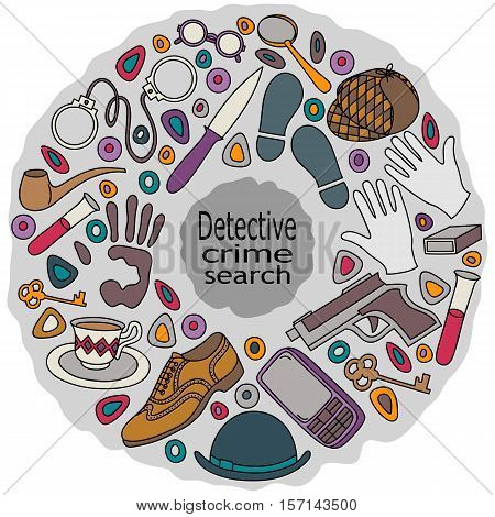 Cartoon cute doodles hand drawn Detective and criminal vector illustration. Colorful detailed on a gray background
