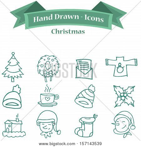 Collection stock Christmas icon set vector art
