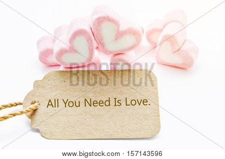 All you need is love wording paper tag with Marshmallow heart shape on white background.