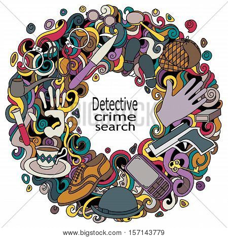 Cartoon cute doodles hand drawn Detective and criminal vector illustration. Colorful detailed, with lots of objects background.