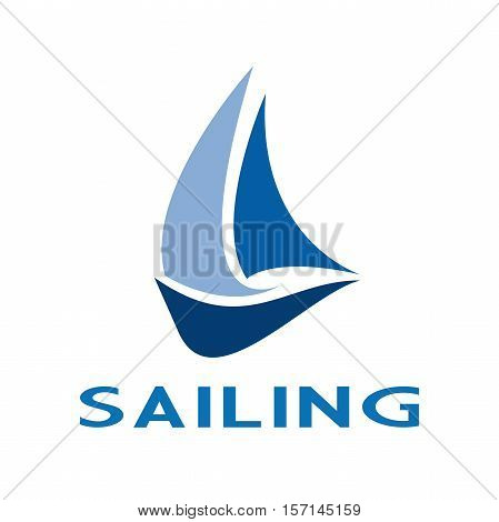 Vector sign sailing boat on the sea in abstract shape