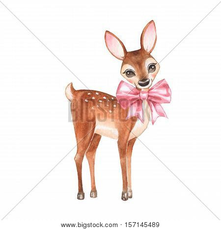 Baby Deer. Hand drawn cute fawn with a bow. Cartoon illustration, isolated on white. Watercolor painting
