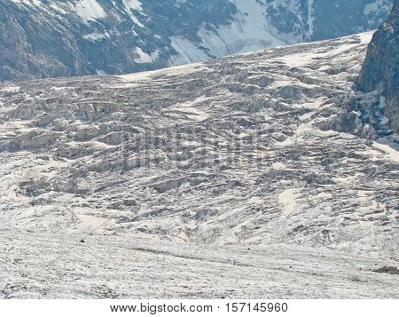 Ice snowy seracs in a Caucasian mountains