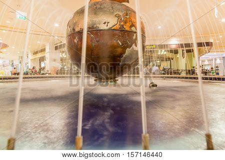ABU DHABI - NOVEMBER 4 2016: Luxury glass interior shopping center Marina mall in Abu Dhabi UAE. Marina Mall is Abu Dhabi's premium shopping mall and entertainment landmark. Marina Mall. Abu Dhabi.