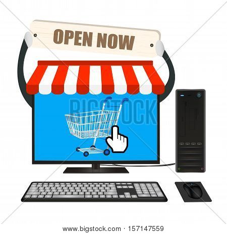 a desktop computer with online store vector