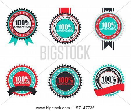 Vector 100 Satisfaction Quality Label Set in Flat Modern Design. Vector Illustration EPS10