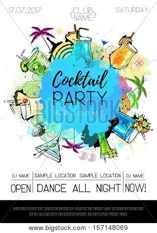 Vector illustration of Cocktail party poster design. Cocktail menu