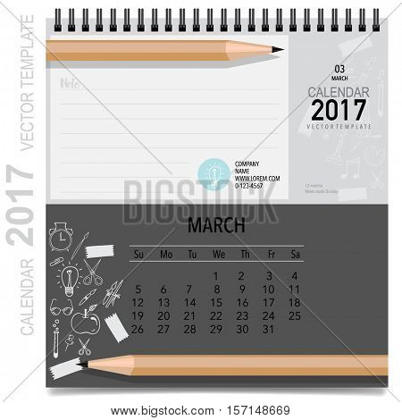 2017 Calendar planner vector design, monthly calendar template for March