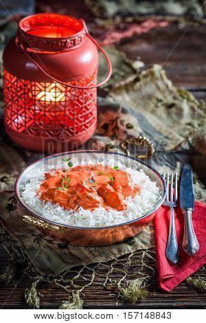 Tasty Tikka Masala With Rice And Tomato Sauce