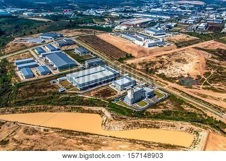 Industrial estate land development aerial view in Thailand