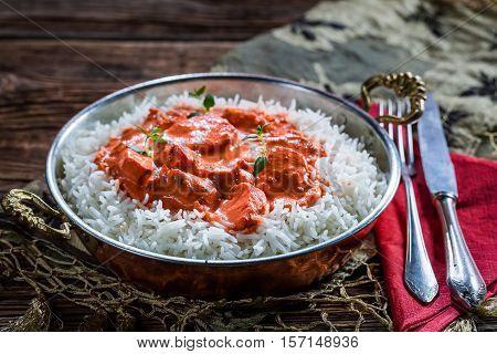 Tasty Tikka Masala With Rice And Sauce