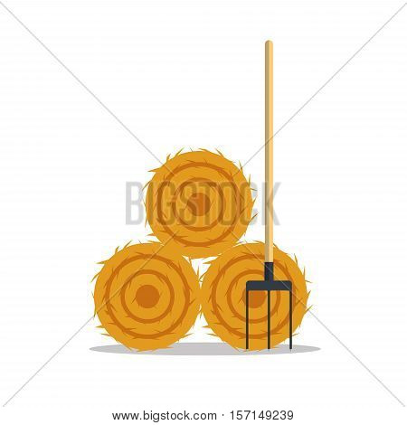 Flat dried haystack with hayfork isolated on whit background. Farming haymow bale hayloft vetor illustration