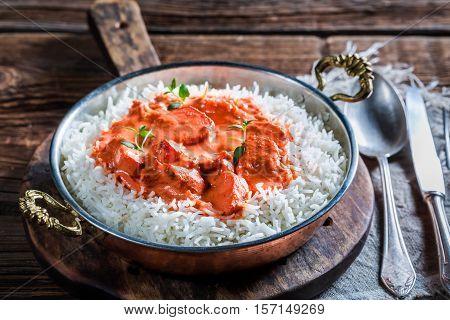 Delicious Tikka Masala With Chicken In Tomato Sauce