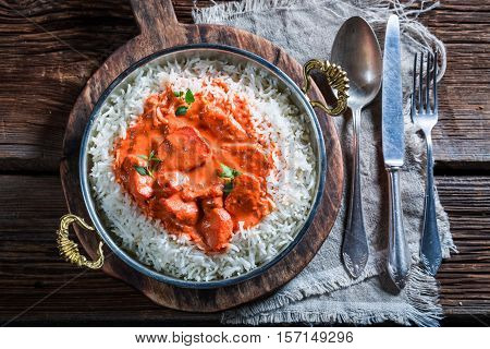 Delicious Tikka Masala With Rice And Chicken In Tomato Sauce