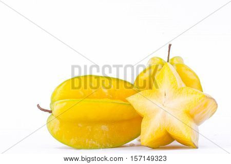 slice ripe star fruit carambola or star apple ( starfruit ) on white background healthy star fruit food isolated