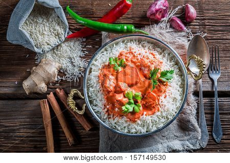 Sweet And Spicy Tikka Masala With Rice And Chicken In Tomato Sauce