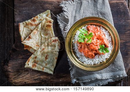 Indian Tikka Masala With Rice And Chicken In Tomato Sauce