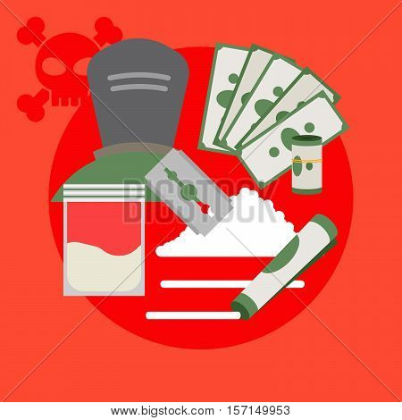 Drugs poster with criminal and money, vector illustration