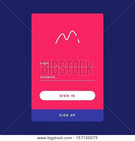 UI, UX and GUI template layout for Mobile Apps. Welcome screen. Pink and blue color ux app. User interface. Login and password form.