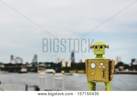 Robot Toy Building Cityscape Skyline Concrete Jungle Concept