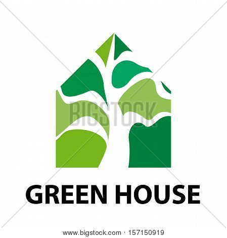 Vector sign eco house with green tree