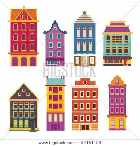Cute bright cartoon flat house set. Vector buildings facades. European style dutch and belgian like homes and dwellings.