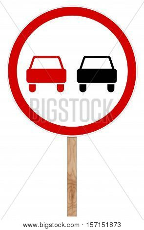 Prohibitory traffic sign isolated on white - Overtaking is forbidden