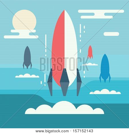 Startup concept minimalistic design. Rocket launch as metaphor of business start-up project new venture or innovation birth of idea or running innovative entrepreneurship