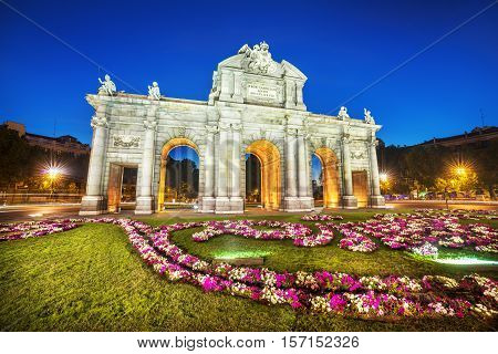 Famous Puerta de Alcala Madrid cibeles district Spain