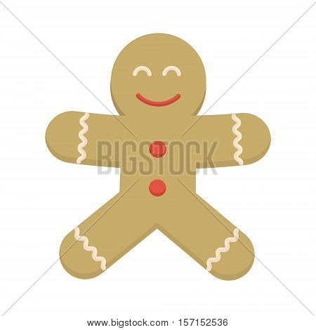 Happy smiling christmas cookie cartoon character. Cheerful positive xmas baked gingerbread man. Santa ginger biscuit boy vector icon illustration. Holiday symbol