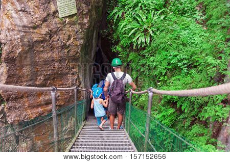 Gorge in the Pyrenees mountains. Gorgues de la Fou. The pyrenees on the france spain border, between Spain and France. Family travel.