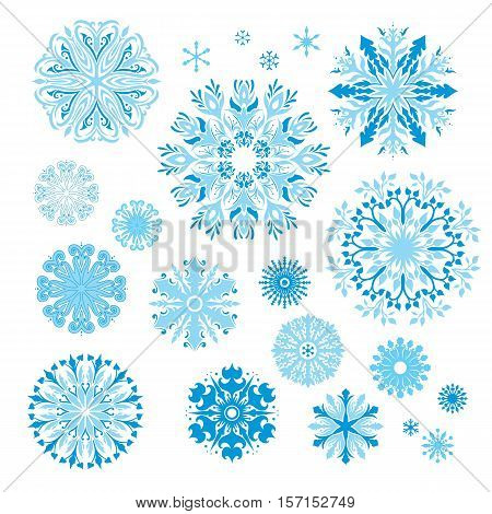 Collection of blue decorative Christmas design elements