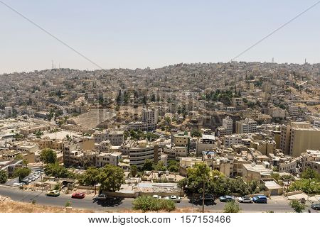 View of Amman with the Roman Theatre from the top Citadel